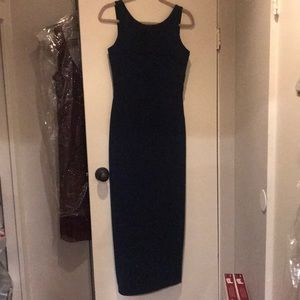 Betsey Johnson Long navy blue sparkly gown Large L